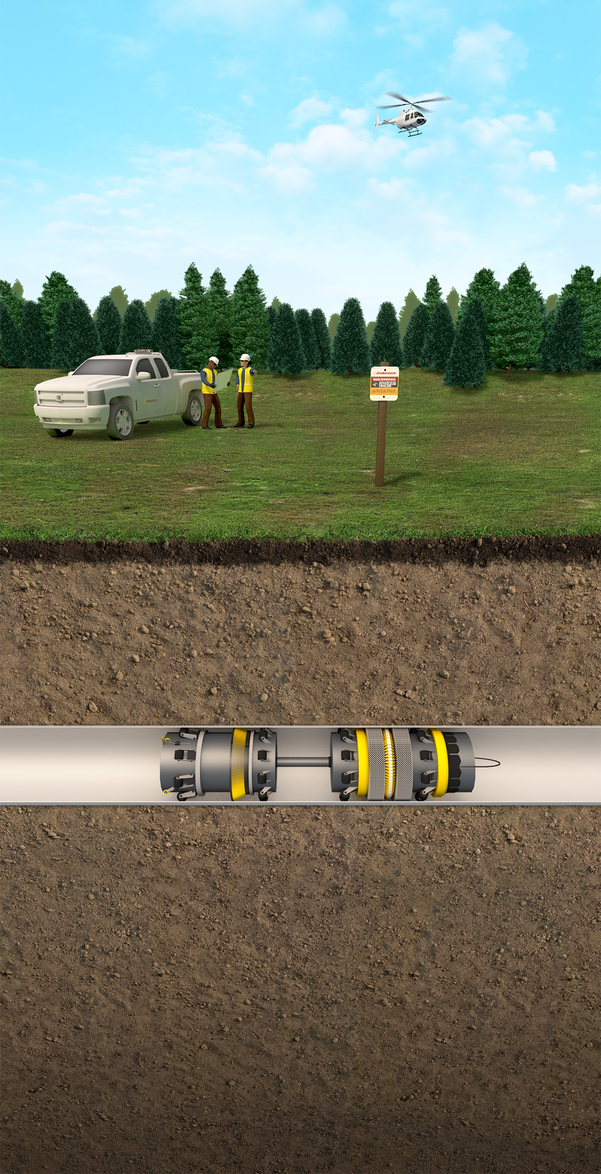 truck workers and underground pipeline